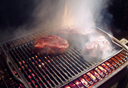 grilled meat over fire
