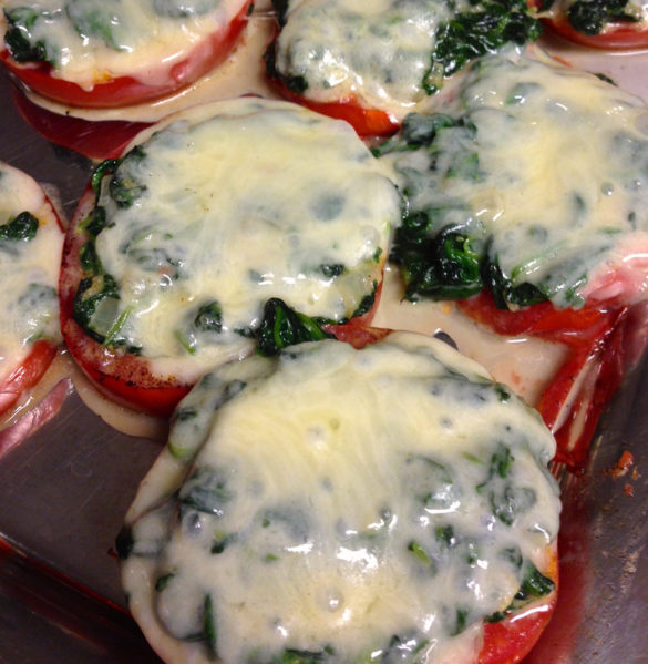 grilled tomatoes with creamed spinach