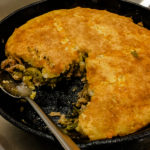 green chile pork cornbread skillet