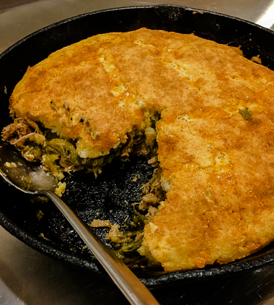 green chile pork cornbread skillet